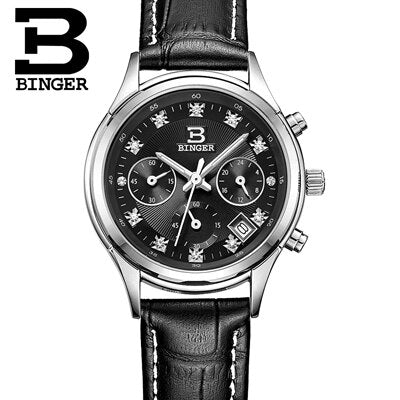 Switzerland Binger Women's watches luxury quartz waterproof full stainless steel Chronograph Wristwatches clock BG6019-W3