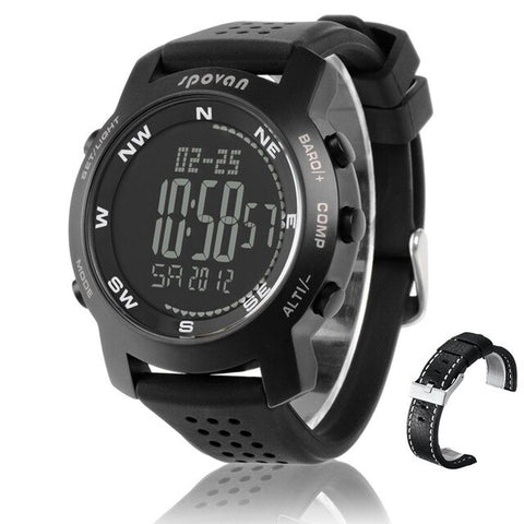 Waterproof Men Watch Altimeter Barometer Thermometer Compass Weather Forecast Chronograph Digital Sports Watch Spovan BRAVO I