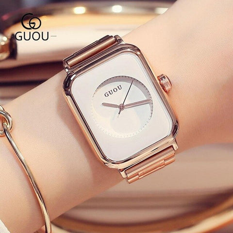 Fashion GUOU Rose Gold Steel No Fade Hardlex Rectangle Quartz Wristwatches Wrist Watch for Women Female Girls