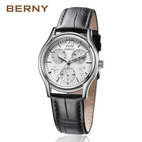 BERNY 2017 Fashion Luxury Rose Gold Star Women's Watches with Leather Strap Multi-function Waterproof Quartz Wrist Watches 2656L
