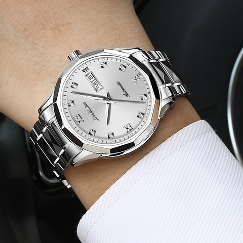 Ladies Watch JSDUN High Quality Fashion Mechanical Female Wrist Watch Stainless Steel Luxury Women Rose Gold Watch Men