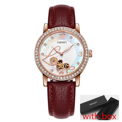 OUBAOER Brand Luxury Rose Gold Mechanical Women Watches Ladies Clock Girl Casual Watch Women Wrist Watch Montre Femme