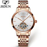 2018 JSDUN Switzerland Luxury Brand Automatic Mechanical Watch Rose Gold Ladies Tourbillon Watches Stainless Steel Wrist watch