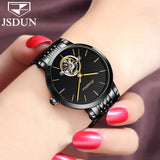 Women's watches 2017 brand luxury fashion korean watch for woman christmas gift Stainless steel mechanical dial hollow watch NEW