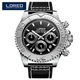LOREO Men Watches Auto Date Sapphire Watch Sports Stainless Steel Strongest Luminous Waterproof 200m Diver Mechanical Wristwatch