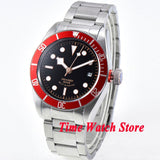 Corgeut 41mm Miyota 8215 20ATM Automatic men's watch sapphire glass waterproof black dial luminous red bezel SS bracelet  Co99