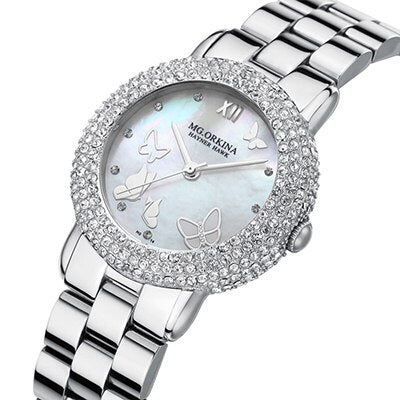 2018 Luxury Rhinestone Women's Quartz Watches Ladies Girls Waterproof 30M Silver Stainless Steel Shell Dial Watch reloj mujer