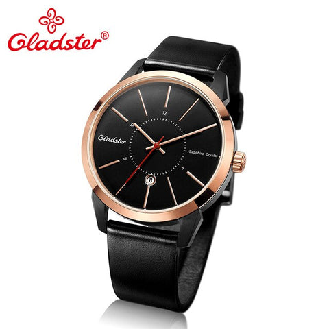 Gladster Luxury Brand Japan Miyota 2115-6H Sports Wristwatch Waterproof Leather Sapphire Crystal Male Clock Calendar Man Watch
