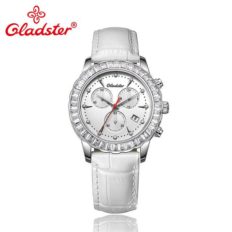 Gladster Japanese Miyota Movement Sapphire Crystal Female Wristwatch Luxury Chronograph Quartz Lady Clock Rhinestone Women Watch