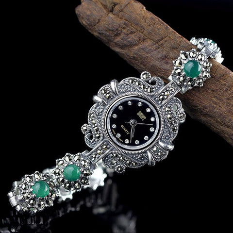 S925 pure silver jewelry lady delicateness with green agate Fashion Bracelet Watch