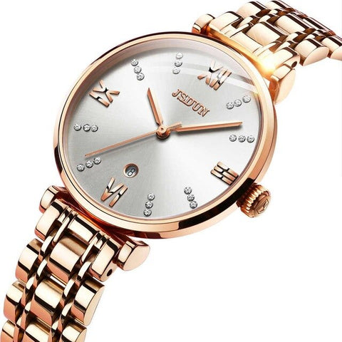 Reloj Mujer Creative Woman Watches Rose Gold Stainless Steel Diamond Quartz Dress Female Watch Date Water Resistant bayan saat