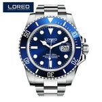LOREO Mens Automatic Mechanical Fashion Top Brand Sports Watches 200M Diving Waterproof Stainless Steel Watch Relogio Masculino