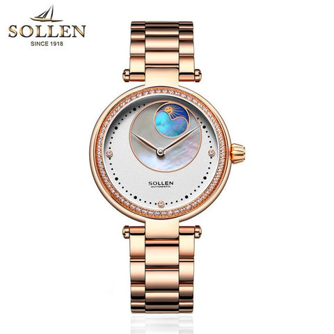 Women Fashion Automatic Mechanical Watch Women Steel Leather Casual Dress Watch Rose Gold Wristwatches Reloje Mujer Montre Femme