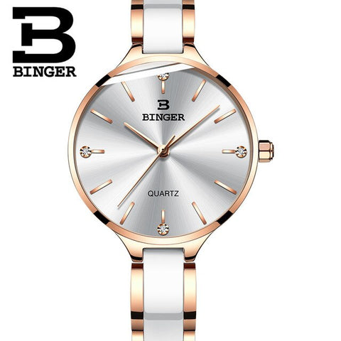 Genuine Switzerland BINGER Brand Women quartz watch steel slim strap with ceramic fashion casual waterproof female dress tables