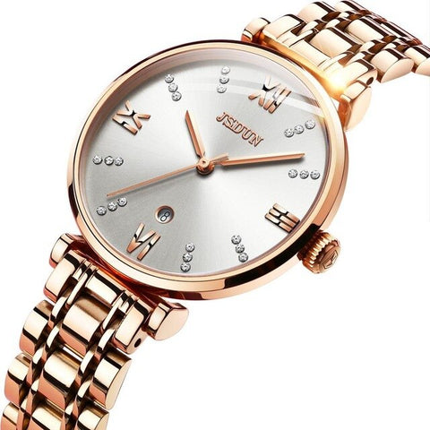 JSDUN Rose Gold Watch Women Watches Luxury Bracelet Women's Watches Rhinestone Ladies Watch Clock montre femme reloj mujer