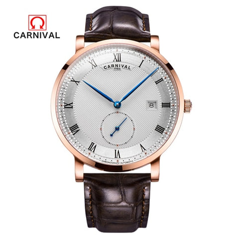 Carnival switzerland Mechanical watch men waterproof leather Luxury brand Men Watches Clock reloj hombre erkek kol saati relogio