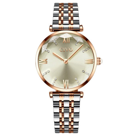 CIVO Fashion Girl Watch Luxury Crystal Silver Steel Dress Ladies Watches Waterproof Womens Bracelet Wristwatch Clock For Woman