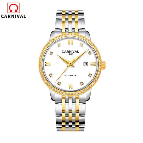 Carnival Automatic Mechanical Watch Women Rose Gold Top Brand Luxury Stainless Steel Waterproof Diamond Clock horloge dames