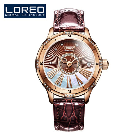 LOREO Rose gold Case Engrave Lady Design Women Fashion Casual Men Mechanical Watches Top Brand Luxury Automatic Watch Montre