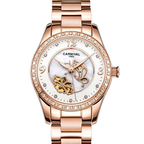Luxury Brand Butterfly pattern Women Watch Automatic Machinery Dress Watches Hollow Design Waterproof Rose gold steel Band Clock