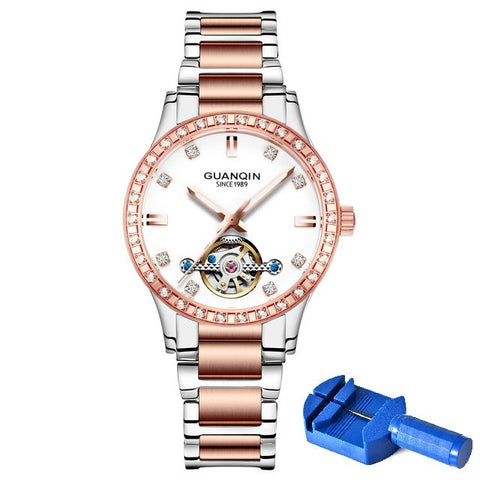 GUANQIN Watch Women Automatic Tourbillon Luminous Watches Skeleton Dress Waterproof Ladies Watches Top Brand Luxury Wristwatches