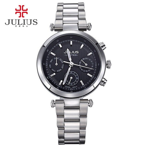 2017 Julius watch ladies stainless steel chronograph 3 dial limited edition silver quartz high quality top brand JAL-029