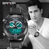 Sanda Sports Double Display LED Belt Men's Classic Fashion Electronic Watch Мужские часы relógio masculino