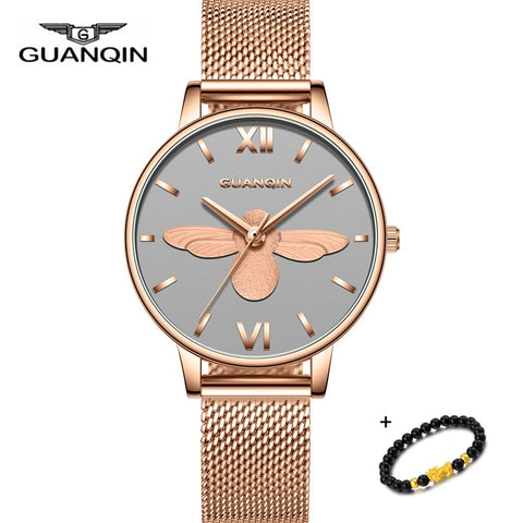 Women Watch Waterproof Brand GUANQIN New Rose Gold Woman Watches Dress Ladies Watch Bracelet Quartz Wristwatch Reloj Mujer