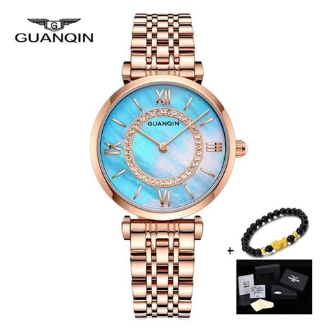 Reloj Mujer Rose Gold GUANQIN Women Dress Ladies Bracelet Watch Full Steel Quartz Watch Women's Wristwatch Relogio Feminino 2019