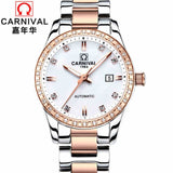 CARNIVAL Automatic mechanical watch women Rose Gold watch Lady relojes mujer women wristwatches Girl Dress Clock Montre Femme
