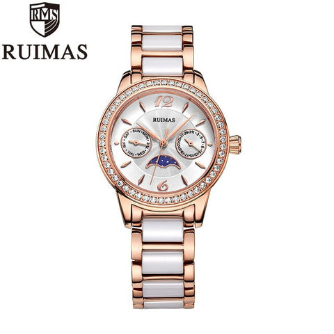 Ruimas Women Watches Top Luxury Brand Quartz Watch Ladies Rose Gold Crystal Watches For Women Stainless Waterproof Watches Women