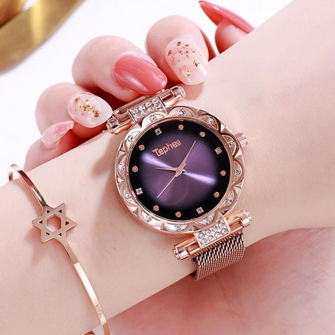 Luxury diamond rose gold Women Watches Starry Sky Fashion Women Watch Ladies Quartz Wristwatch 2019 Young Girl Waterproof