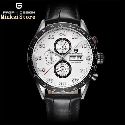 Pagani design 42mm mens top watch silver case black dial multifunction quartz chronograph tachymeter watch