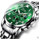 2019 New Fashion Luxury Mens Watches Sports Chronograph Waterproof Quartz Watch Green Men Full Steel