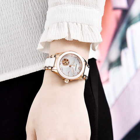 часы женские 34mm Watch women Rose Gold Ceramic mechanical wristwatches reloj mujer Miyota 821A relogio feminino a prova de água
