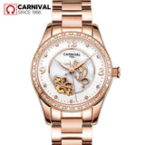 CARNIVAL Luxury Brand Rose Gold Watch Women Fashion Diamond Automatic Mechanical Watches Ladies Luminous Clock Relogio Feminino