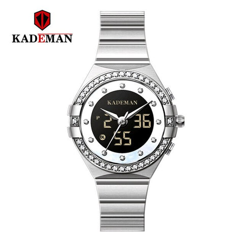 KADEMAN Women Watch Elegant Luxury Wristwatch Analog Digital Display Ladies Waterproof Quartz Watches Clock reloj mujer