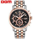 DOM top brand business men quartz watches fashion steel band calendar chronograph multi-function waterproof sports wristwatch