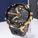 KUERST Mens Gold Watch Luxury Brand Waterproof Sport Quartz chronograph watches Clock Four Time Zone WristWatch Men 2019