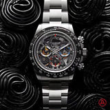 Luxury Brand New Silver Rose Gold Black Skeleton Japanese Quartz Chronograph Stainless Steel Men Watches Sapphire Ceramic Bezel