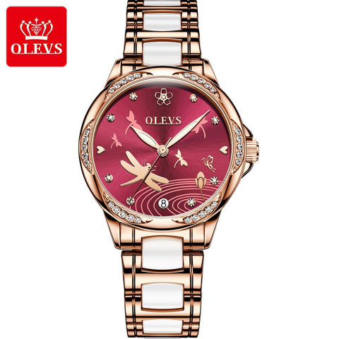 OLEVS Watch Women Fashion Dragonfly Watch  Luxury Rose gold Bracelet Waterproof Business Wristwatch light cozy Women Watch Gift