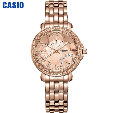 Casio watch Swarovski Crystal  women watches top brand luxury set Quartz Chronograph 30m Waterproof women reloj mujer