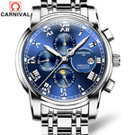 Relogio Masculino CARNIVAL Brand Luxury Mechanical Watch Men Waterproof Luminous Automatic Moon Phase Week Month Date Wristwatch