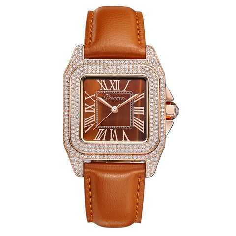 2020 New Davena rose gold quartz watch women watches full diamond luxury female clock ladies watches waterproof Leather strap
