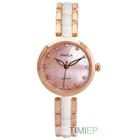Amica Women's D-Ceramics Quartz Sapphire Rose Gold Tone Stainless Steel Wrist Watches A-1-2
