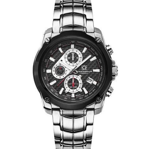 Carnival Mens Sports Waterproof Steel Watchband Triples Windows Quartz Watch Wristwatch - silver case black dial