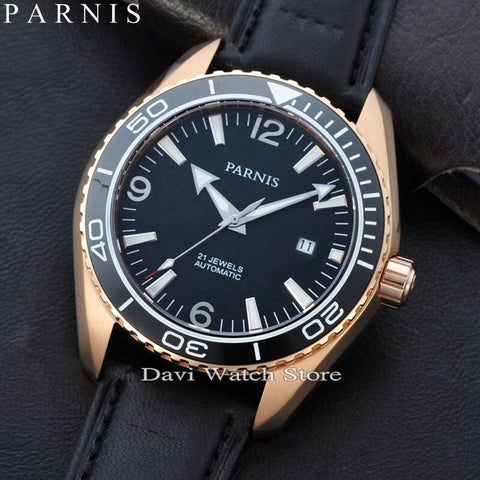 Parnis 45mm Rose gold case Ceramic Bezel Sapphire Glass Men's MIYOTA Automatic mens Watch