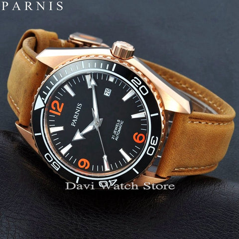 Parnis 45mm Rose gold case Ceramic Bezel Sapphire Glass Men's MIYOTA Automatic brown band mens Watch
