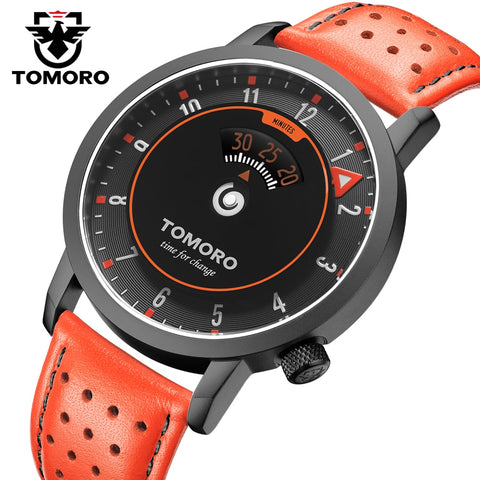 TOMORO New Original Inspired By Time Speed Indcator Japan Quartz Breathable Genuine Leather Unique Casual Gift Men Sports Watch