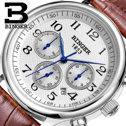 Genuine Luxury BINGER Brand Men leather strap full steel automatic mechanical Self Wind Sapphire business watch waterproof